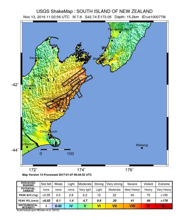 USGS Shakemap for Kaikoura earthquake