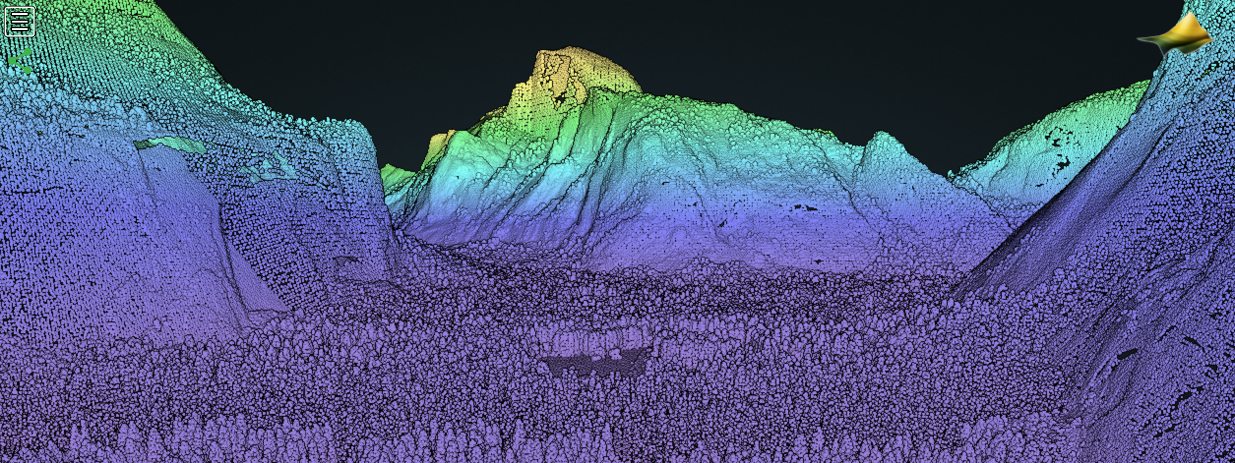 Yosemite Valley point cloud in a browser