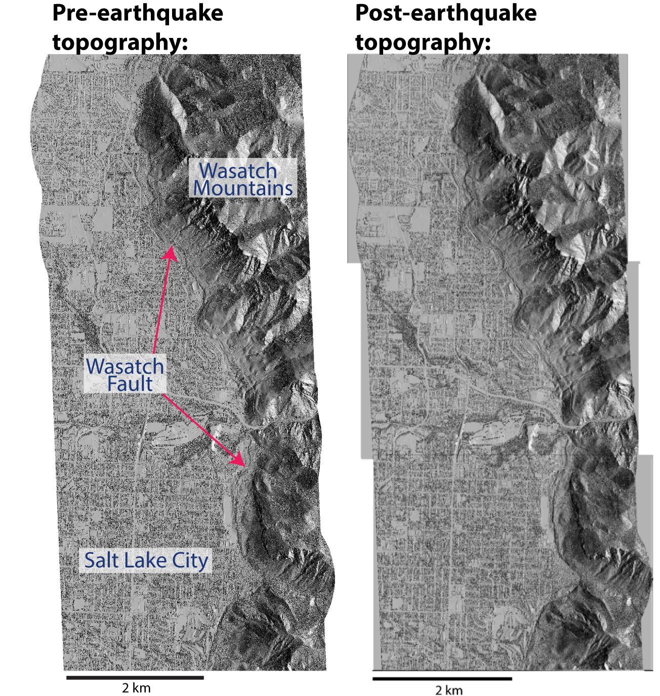 Students learn how to calculate surface deformation from sub-meter scale topography from before and after a large earthquake.