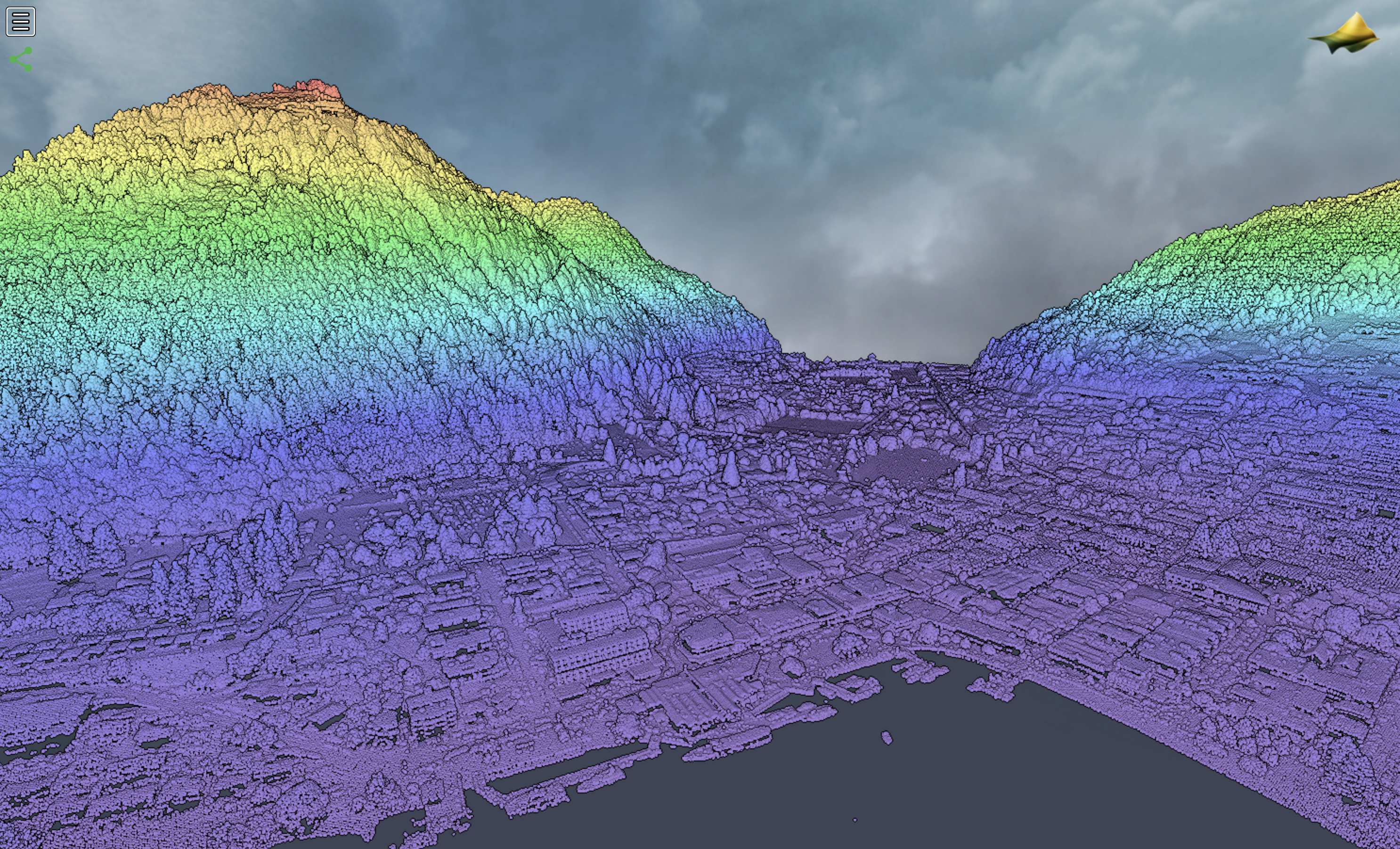 Central Queenstown point cloud, colored by elevation