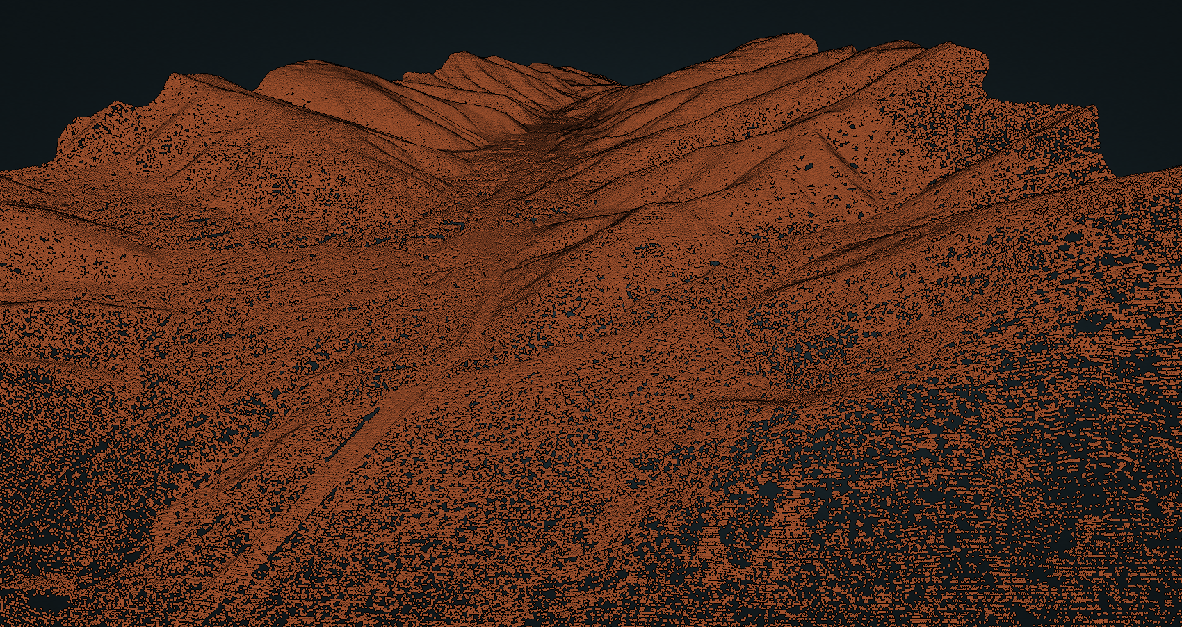 Ground point cloud classifications in San Gabriel Mountains near Wrightville, California, along the southern San Andreas fault.