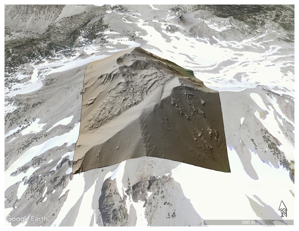 DTM draped on Google Earth