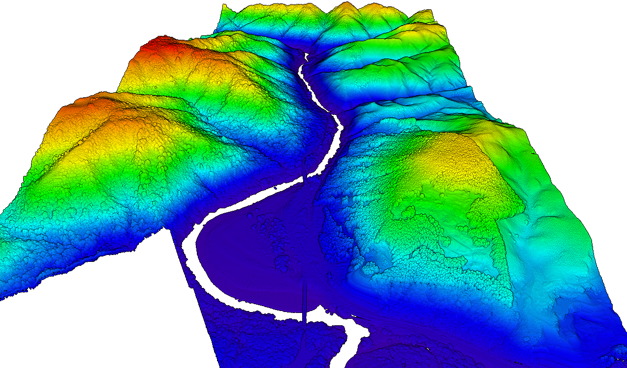 DSM of a portion of the Manawatu River and surrounding mountains.  Image is colored by elevation